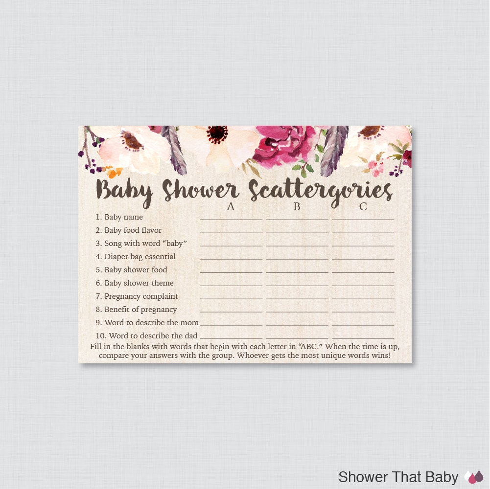 boho baby shower scattergories game printable download
