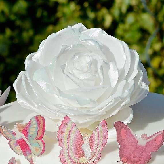 Edible rose wafer rice paper 3d roses flowers iridescent pink white il570xn mightylinksfo