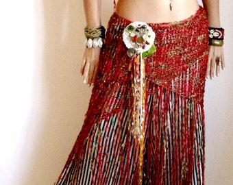 Red hip wrap, Hip scarf, Bellydance hip scarf, Belly dance belt, Flamenco shawl, Hip Wrap, Bellydance costume, Fringe scarf, Tribal fusion