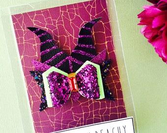 Maleficent Hair Bow - Maleficent headband, Disney inspired Maleficent bow, Maleficent hair clip, Sleeping Beauty villain bow