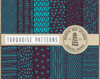 Scrapbooking Paper | Hand Drawn Patterns | Turquoise Digital Paper | Turquoise Patterns | 12 JPG, 300dpi Files | Coupon Code: BUY5FOR8