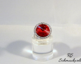 Ring, Crystal ring, Halo ring, engagement ring, wedding gift, Solitaire ring, gift for mother, Valentine's gift