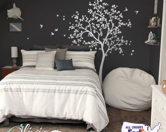 Large White tree decal Huge Tree wall decal Wall Art Tattoo Wall Mural Stickers Wall Decals Decor - NT014