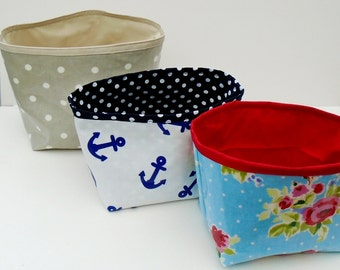 Oil Cloth Fabric Bin, Handmade Storage Bin, Fabric Gift Basket, Craft Organiser, Oil Cloth Container, Wipe Clean Basket, Fabric Bedroom Tidy