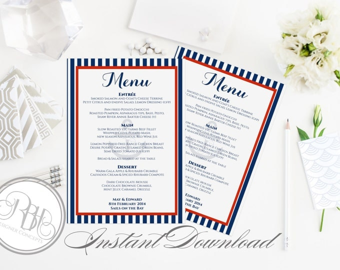 """Nautical Menu-INSTANT DOWNLOAD- Editable Text Only-Wedding-Baptism- Nautical Boat Anchor with Navy Stripe Red Design - """"Xena"""""""