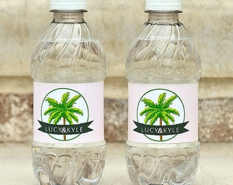 Palm Tree Wedding Waterproof Water Bottle Labels - Adhesive Water Bottle Stickers - Personalized Wedding Favors - Welcome Bag Bottle Labels