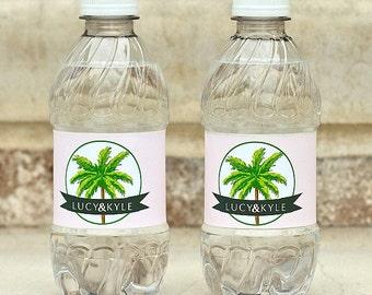Palm Tree Custom Printed Wedding Welcome Waterproof Water Bottle Labels