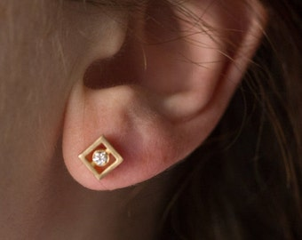 Geometric Diamond Earrings - Square Diamond Earrings - Vintage Inspired Earrings - Eco Friendly Earrings - Minimalist Diamond Earrings