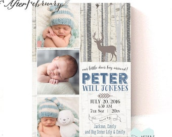 Birth Announcement Woodland Deer Rustic Baby Boy Birth Photo Announcement Printable File // Printable OR Printed No.859BABY