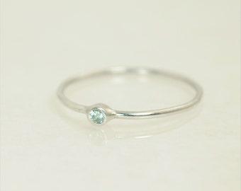 Tiny Aquamarine Ring, Solid White Gold Aquamarine Stacking Ring, Solid Gold Aquamarine Ring, Mothers Ring, March Birthstone, Aquamarine Ring