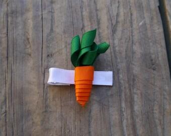 Easter Carrot Ribbon Sculpture Hair Clip; Easter spring hair bow