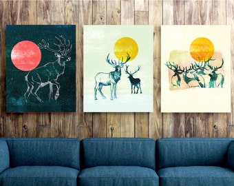 rustic decor, mountain print, explorer, Set of three canvas, elk woodland painting, watercolor painting set, large art, deer  print 18x24