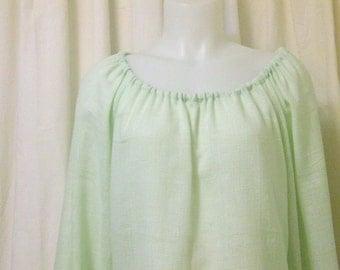 Mint Green Cotton/Linen Blend, Long Sleeve, Pirate, Fairy, Peasant Blouse, Size XS