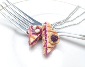 Grilled Peanut Butter and Jam Sandwich Necklaces, BlackBerry Jam, Food Necklace, Sandwich Necklace, Bff Jewelry, Bff Necklaces, Food Charms