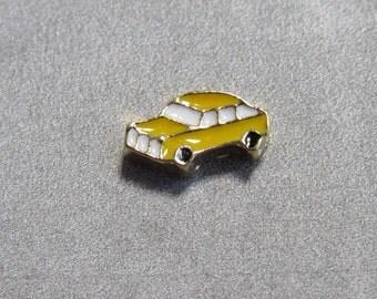 YELLOW CAR Enamel Floating Charms Locket Charms Glass Locket Charms For Locket Necklace 9X6mm