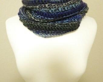 Crochet Cowl in Blue Ombre