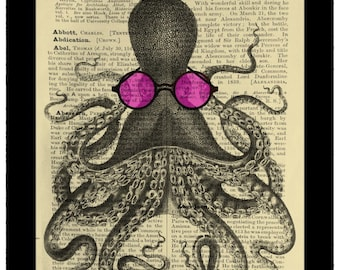 Octopus Wearing Sunglasses Vintage Curiosity - Dictionary Print Book Page Art