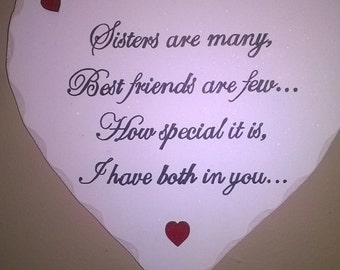 Hand Made Wooden Heart - Sisters