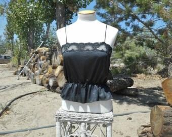 80's Vintage Black Lace Camisole Tank Top (Montgomery Ward-Women's Size Medium)