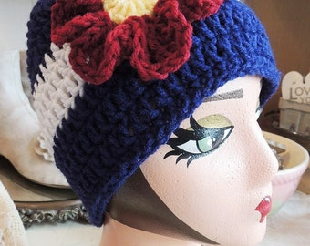 Colorado Flag Beanie, Colorado Hat, LuvBeanies, Colorado Flag Hat, Hat with Flower, Ski Hat, Stocking Hats, Ladies Hats, Womens hats