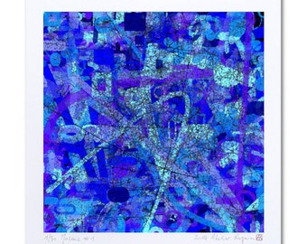 "Art Print Abstract Blue Art ""Mosaïc #1"" Abstract Art Work, Limited Edition Prints, Contemporary Prints, Giclee Art, Abstract drawing"