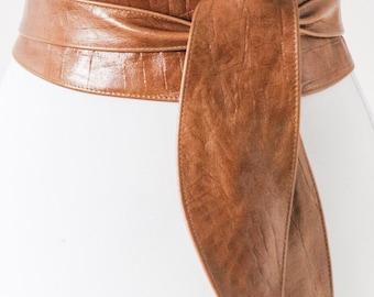 Tan Brown Croc effect Tulip Tie Obi Belt Leather Croc finish  | Leather corset belt | Tan Leather Belt| waist Belt | Petite to Plus Size
