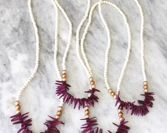 Magenta Fringe Necklace