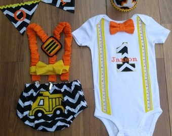 First Birthday Cake Smash Outfit  Construction Black White Orange Yellow Chevron Trucks with Suspenders for Baby Boy