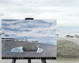 New Zealand beach painting of the Moeraki Boulders, original art, NZ artist, 12 x 16 stretched canvas, free shipping