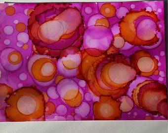 Abstract one of a kind alcohol ink painting on yupo