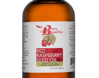 Red Raspberry Seed Oil - 32 Fl Oz (946 ml) - Cold Pressed by Berry Beautiful from locally grown Raspberries - 100% Pure & Unrefined