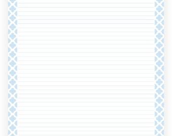 Editable Lined Paper   Light Blue Quatrefoil   Instant Download, Digital,  Printable, PDF  Editable Lined Paper