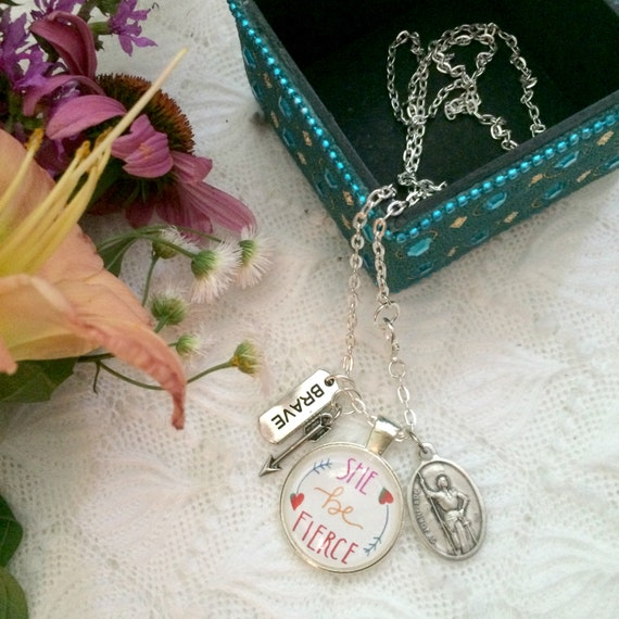 Catholic Pendant Necklace * Handlettered She Be Fierce Pendant * Joan of Arc Medal * Inspirational Jewelry * Gifts for Mom/ Girlfriend Gifts