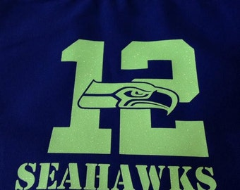 Royal blue 8 oz tote bag with Seahawks glitter iron on