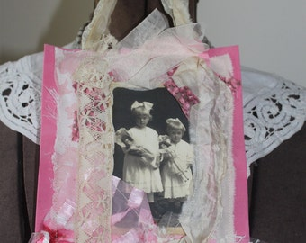 Vintage Fabric and Lace Collage Wall Hanging-Valentine's Day, Love, Sisters, Children, Family, Old Photo, Pink, Cream