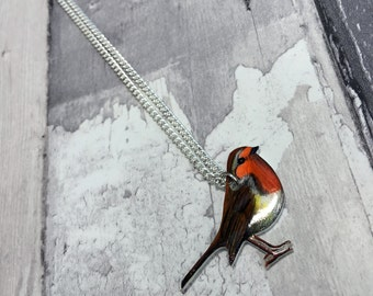 Hand Drawn Robin Bird Necklace UK Native Species