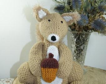 Squirrel Cuddly Toy. Handmade Crochet. Gift.