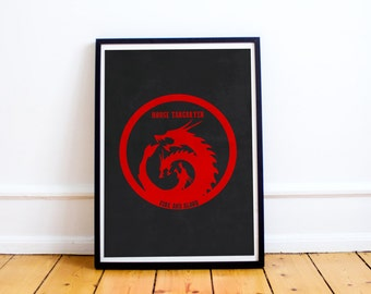 House Targaryen Sigil - Fire & Blood - Game of Thrones Poster Print (Available In Many Sizes)