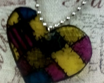 Nightmare Before Christmas Sally Inspired Heart NMBC Hand Drawn Necklace