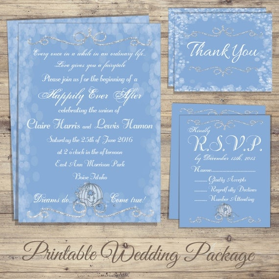 Cinderella Wedding Invitation Fairytale Wedding Invitation