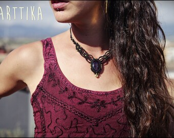 Necklace with AMETHYST macrame. Tribal necklace. Handmade. Stones.