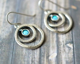 Sterling Silver and Opal Israel Modernist Abstract Dangle Circle Earrings