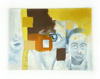 Abstract Painting 24 x 18 Acrylic Paint Art Vintage Boy Girl Yellow Brown Blue White Lips Eye Face