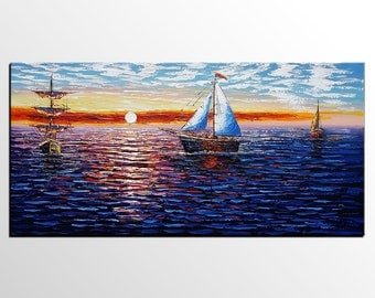 XL Sail Boat Painting LARGE Painting Wall Art Canvas Art Original Art Contemporary Artwork Abstract Art Impasto Texture Palette Knife Art