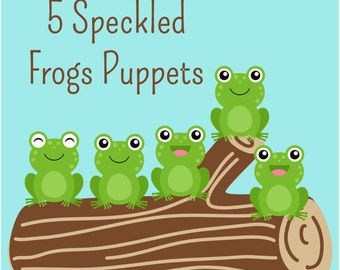 5 Little Speckled Frogs Printable Puppets! Instant Digital Download. Fun Activity for your Baby or Toddler!