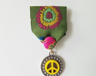 Moonflower Peace Medal (Green, pink, yellow ribbon, silk button, yellow peace sign)