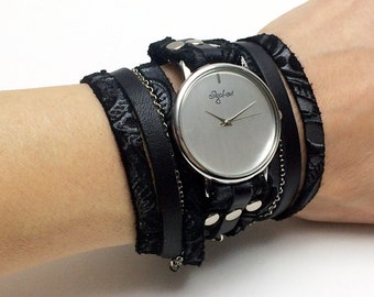Wrap Watch In Black Leather Combination-Womens Watch-Wrap Bracelet Watch-Womens Watch-Watch-Wrist Watch-Sigal Jewelry