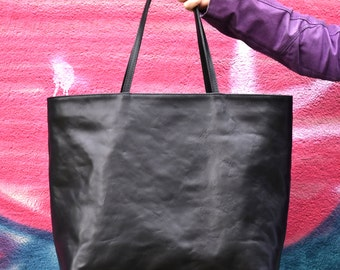 Large Black Leather Tote - MILA Handmade Black Leather Tote Bag