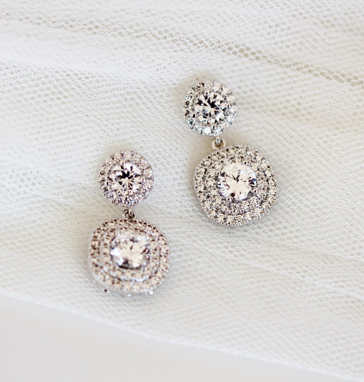 Crystal Bride Earrings Princess Wedding Jewelry Round Square Wedding Earrings Halo Earrings Cubic Zirconia Post Earrings Bridal Jewelry