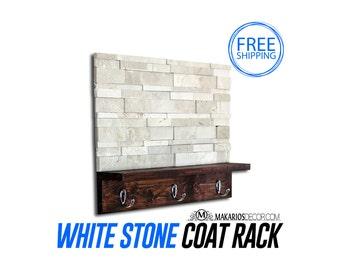 Tile Coat Rack.Wooden Coat Rack.Modern Coat Rack.Rustic Coat Rack.Coat Rack.Coat Hooks.Coat Hanger.Coat.Tile Art.Modern (White Tile Rack)
